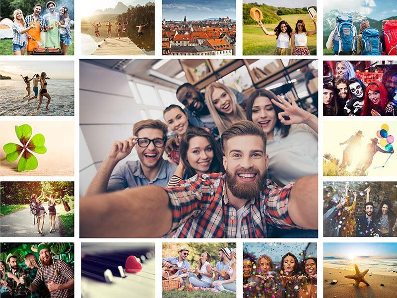 Fotopuzzel met een eenvoudige collage 17 foto's