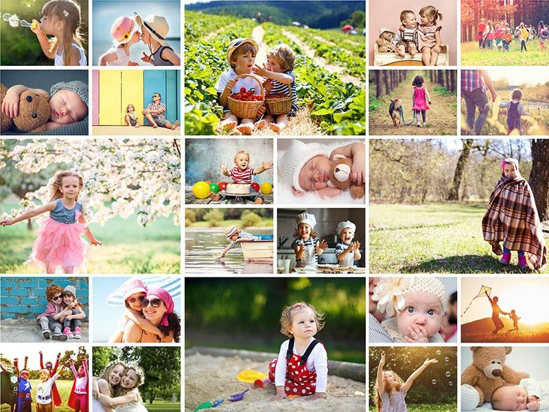 Fotopuzzel met een eenvoudige collage 24 foto's
