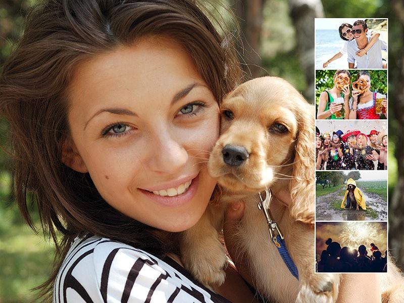 Fotopuzzel met een eigen achtergrondfoto collage 6 foto's