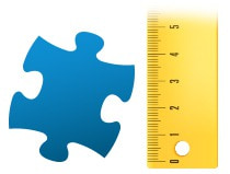 Verhouding puzzelstukje fotopuzzle 100 stukjes